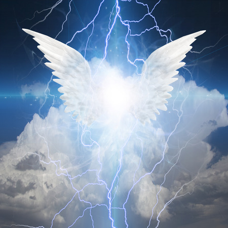 Angel winged. Shining light.