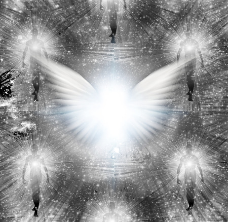 Shining angels wings and human souls. Stock Photo