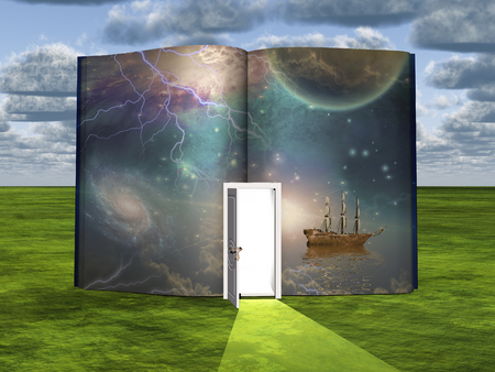 Book with science fiction scene and open doorway of light Stock Photo
