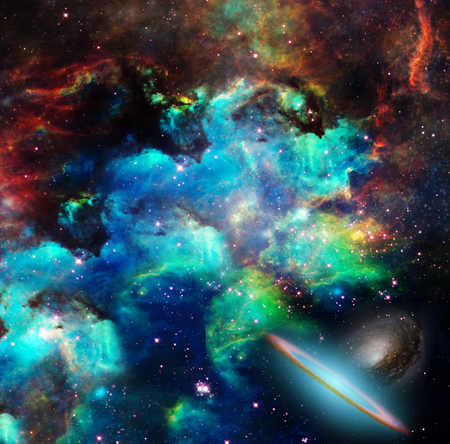 Nebulae, stars, galaxies. Vivid colors. Stock Photo