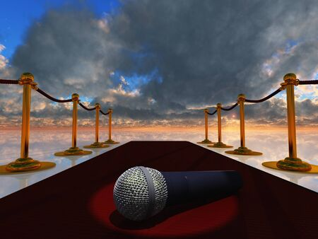stanchion: Microphone on red carpet.