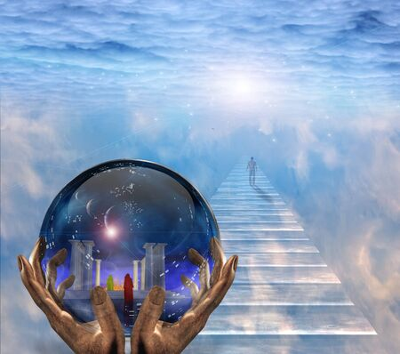 Crystal ball with temple and monk inside. Figure of man walks to the light.