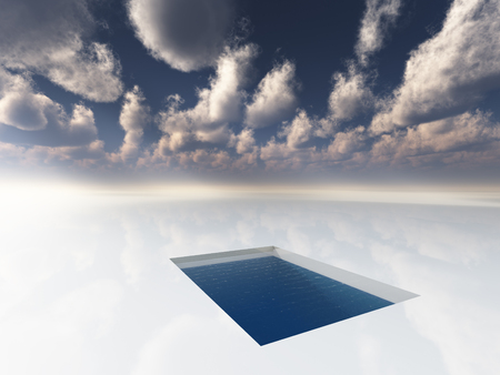Surreal painting. Pool in the white field of clouds.