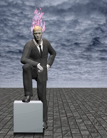 Business man with burning head stands on empty stone field. One of his leg rests on white stone block. Stock Photo