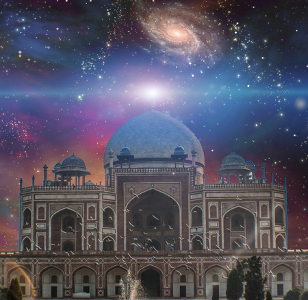 galaxies: Temple in eastern style. Universe with galaxies on a background.