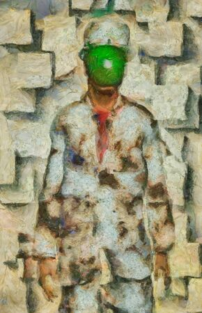 Surreal painting. Man in suit and bowler with green apple instead of his face. Rene Magritte style.