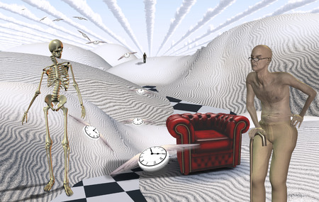 Surreal white desert with red armchair. Old man and skeleton. Figure of man in a distance. Winged clocks represents flow of time.