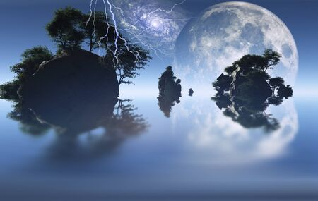 unreal unknown: Small islands with green trees. Big moon rising.