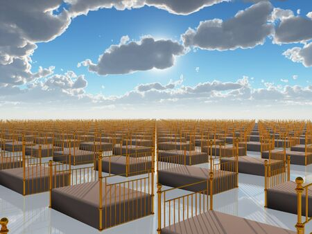 Surreal painting. Countless beds in sky. Stock Photo - 71023449