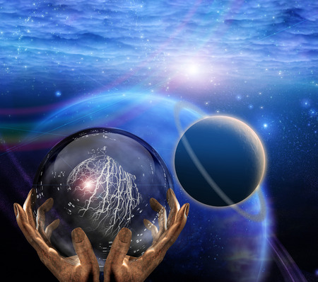 Surreal painting. Crystal ball in prophet hands. Deep space. Imagens