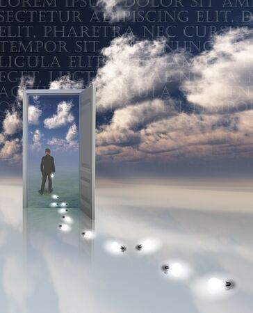 another: Sky fields of clouds. Opened door to another world. Man passed throug the door. Light bulbs represents mans ideas.