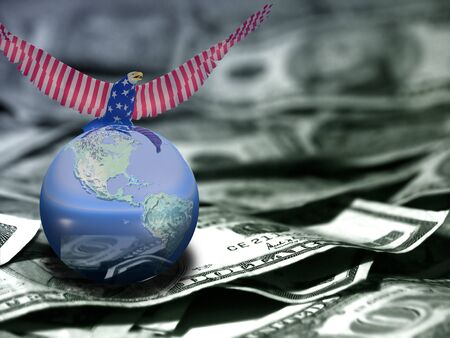Eagle in national colors sits on a globe. US dollars.