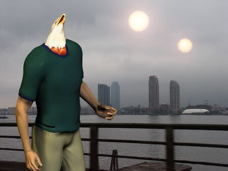 nibiru: Man with eagle head. Two suns above city.