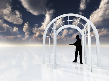 Arch doorway. Mans silhouette. Stock Photo