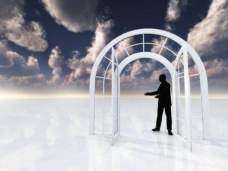 man's: Arch doorway. Mans silhouette. Stock Photo