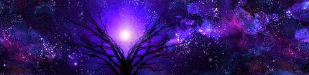 spirtual: Purple landscape filled with stars
