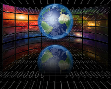 Screens and binary with Earth Stock Photo