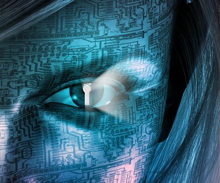 Electronic Woman with Key hole Eye Stock Photo