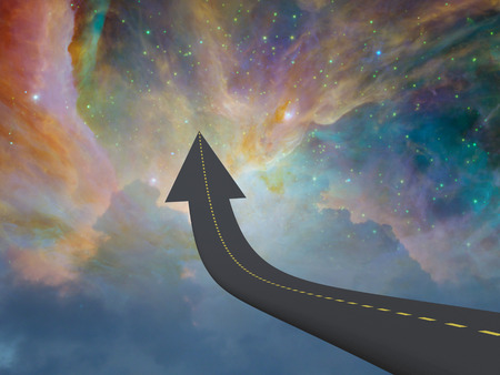 Highway to space in arrow shape Stock Photo