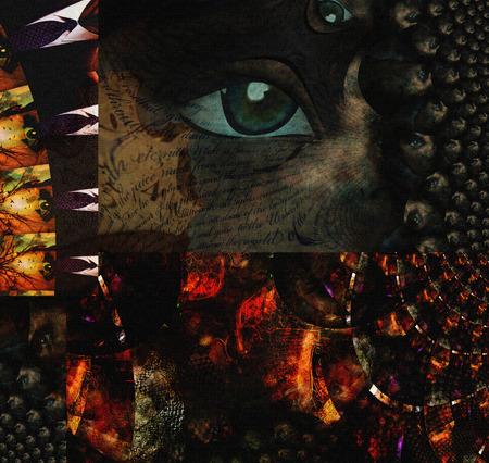 human eye: Surreal painting. Human eye and text lines.
