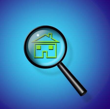 home ownership: Magnify Glass Reveals Home Stock Photo