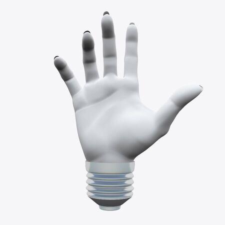 White Humans hand shape.in light bulb socket