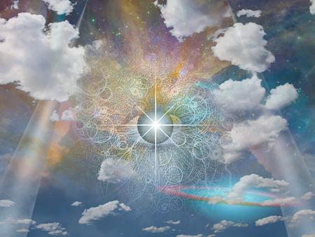 Oog van God in de hemel. Stockfoto