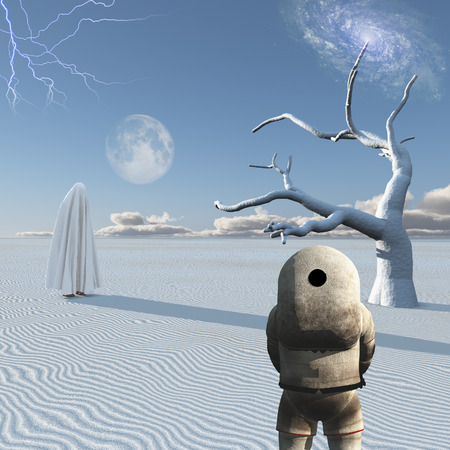 unreal unknown: Astronaut stands in surreal white desert. Figure in white hijab.