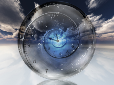 Spiral of time inside crystal ball. Stock Photo