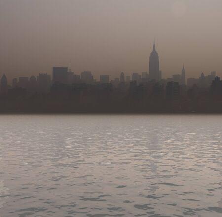 New York harbour. Sunset.