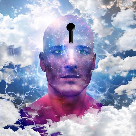 psique: Starman con ojo de cerradura en la cabeza Foto de archivo