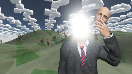 yogi aura: Man removes face showing lightn in landscape with question shaped clouds