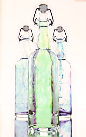 rainbow cocktail: High Key Bottles and Color Stock Photo