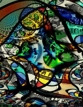 abstract art: Modern Art Money Abstract Stock Photo