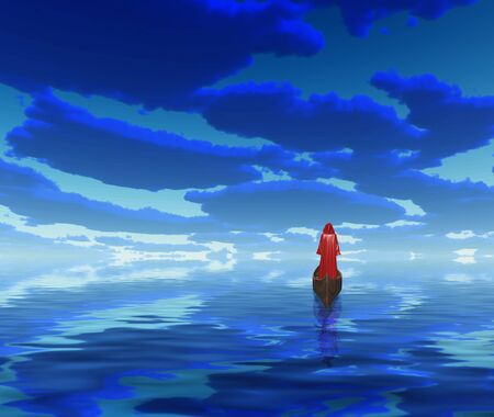heaven background: Figure in red cloak in a boat. Deep blue clouds are reflected in water.
