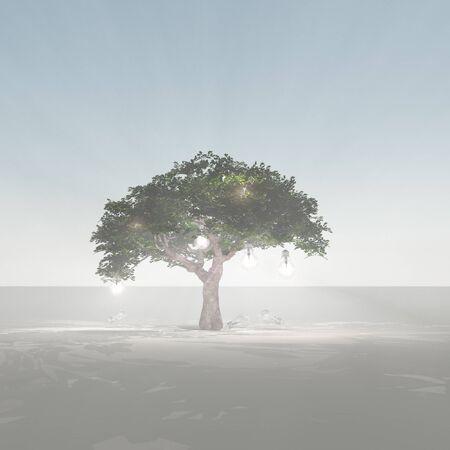 Green tree with light bulbs.