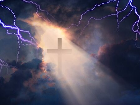 revealed: Lightning Stikes while cross is revealed in sunlight streaming Stock Photo