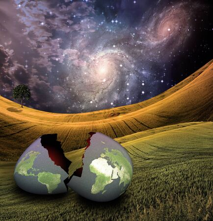 Earth egg is hatched Stock Photo