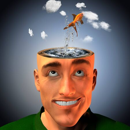 Man with head in clouds and water with fish