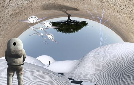 Astronaut stands in surreal white desert. Green tree upside down. Figure of man in a distance. Winged clocks represents flow of time. Stock Photo