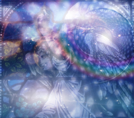 heavenly angels: Angel and heaveanly composition Stock Photo
