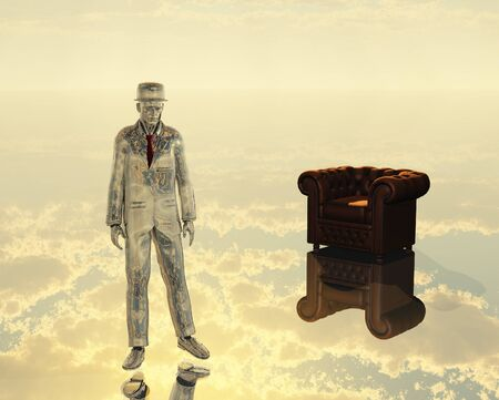 unreal unknown: 3d render. Silver man in a suit, armchair in the sky. Stock Photo