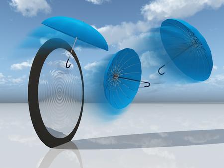 blue umbrellas and mirror Stock Photo