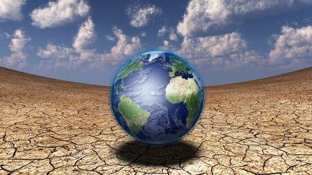 3d render. Globe in surreal desert. Stock Photo
