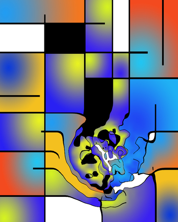 painting style: Abstract painting. Mondrian style. Distorted.