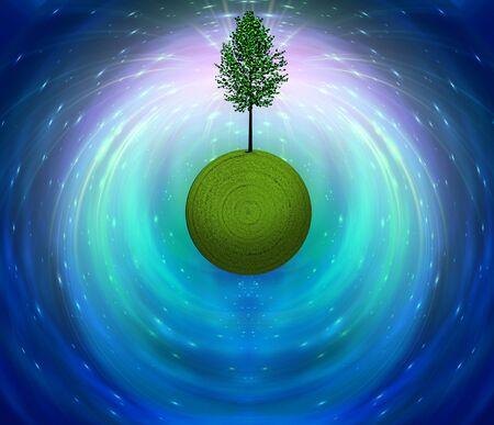 Tree on Green Grass Globe Stock fotó