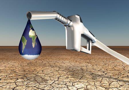 Globe in shape of fuel drop. Stock fotó