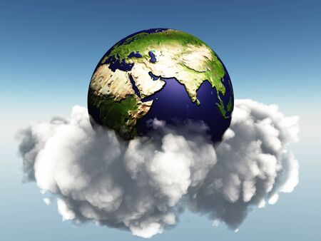 Earth and Clouds Middle East, Asia, India Stock Photo