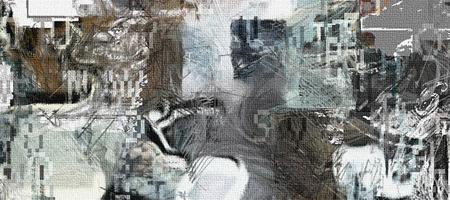 Complex abstract schilderij. Tekst, penseelstreken en klokgezicht. Stockfoto - 72607854