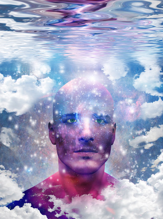 Mans head with stars and clouds